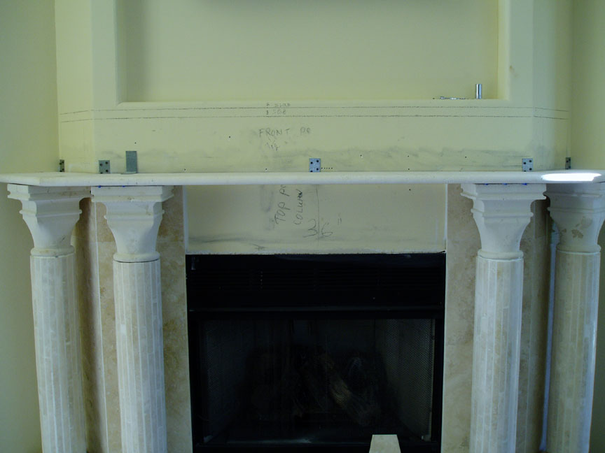 travertine marble fireplace surround