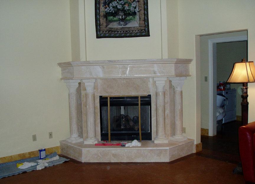 Limestone granite fireplace hearth