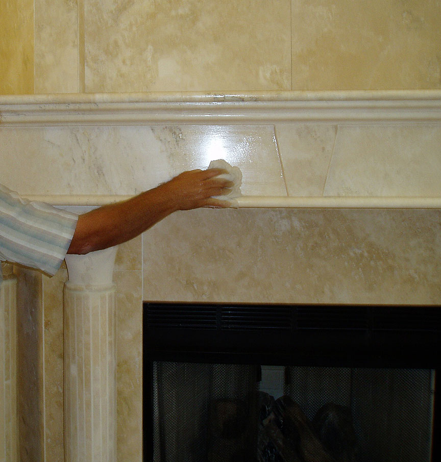 Enhancing Sealing Wall Tile On A Marble Travertine