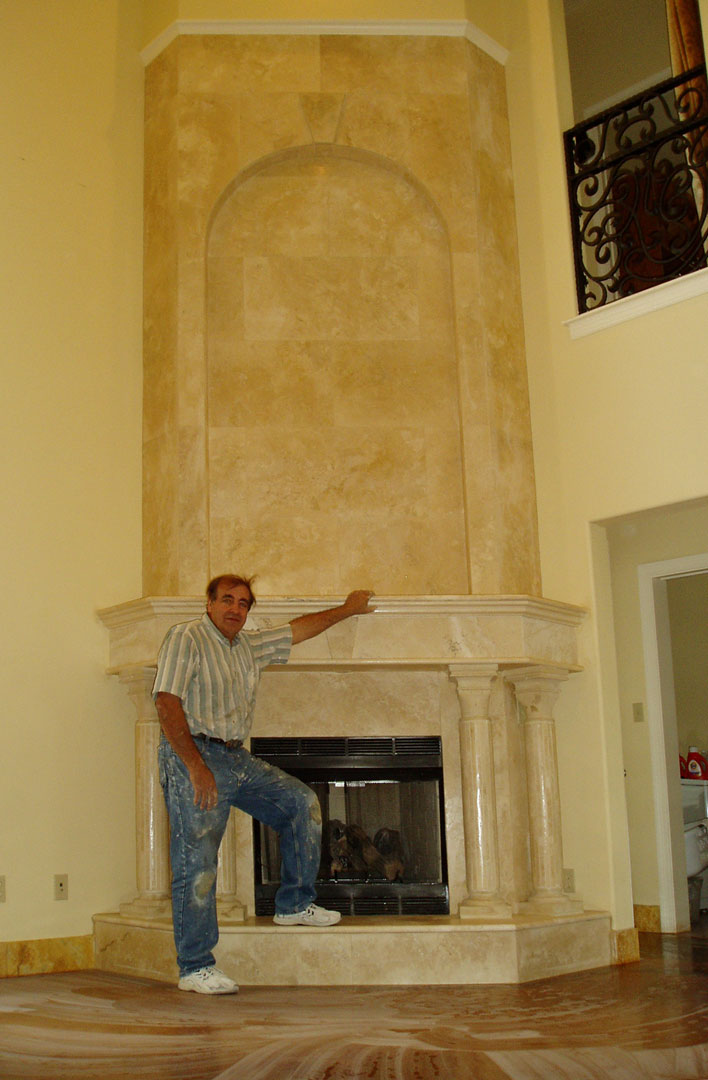 Granite Travertine or Marble Fireplace Hearths Mantles and
