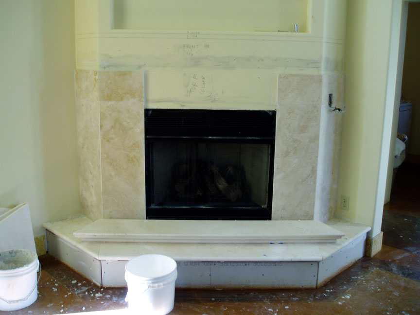 Installing a marble travertine granite or slate for Marble for fireplace surround