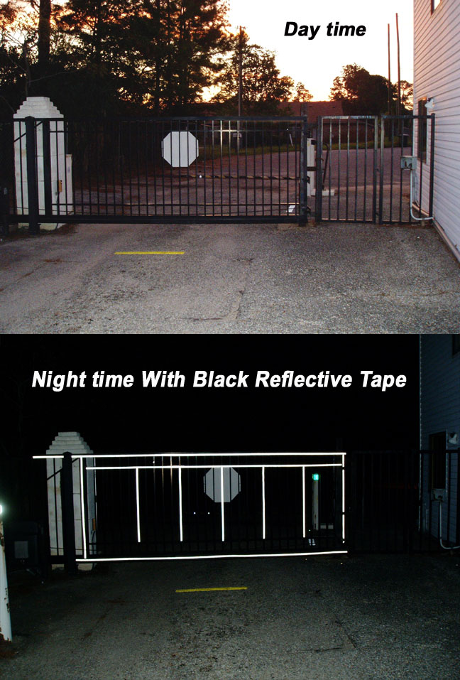 black reflective gate tape